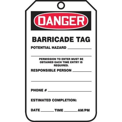 Danger - Barricade Tag (Potential Hazard) OSHA Barricade Tag