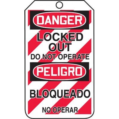 Danger/Peligro Locked Out Do Not Operate OSHA Lockout Tag