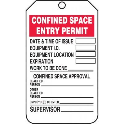 Confined Space Entry Permit Tag | SAFETYCAL, INC