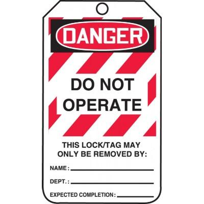 Danger - Do Not Operate (White) OSHA Lockout Tag