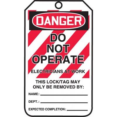 Danger - Do Not Operate, Electricians at Work OSHA Lockout Tag