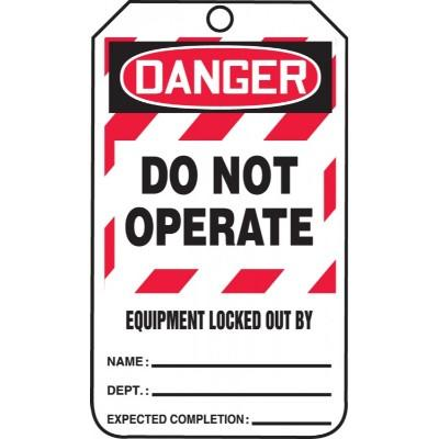 Danger - Do Not Operate, Equipment Locked Out (White Box) OSHA Lockout Tag
