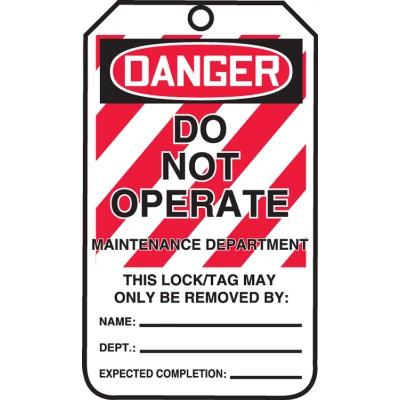 Danger - Do Not Operate, Maintenance Department OSHA Lockout Tag