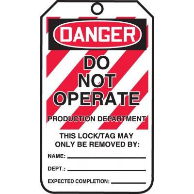 Danger - Do Not Operate, Production Department OSHA Lockout Tag