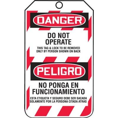 Danger/Peligro - Do Not Operate, This Lock & Tag OSHA Lockout Tag