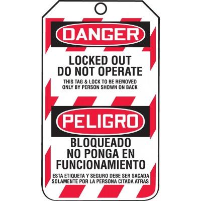 Danger/Peligro - Locked Out, Do Not Operate OSHA Lockout Tag