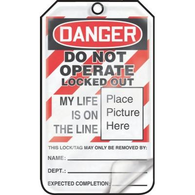 Danger - Do Not Operate, Locked Out My Life is on the Line OSHA Flapped Lockout Tag