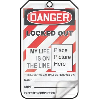 Danger/Peligro - Equipment Lock Out, My Life is on the Line OSHA Flapped Lockout Tag