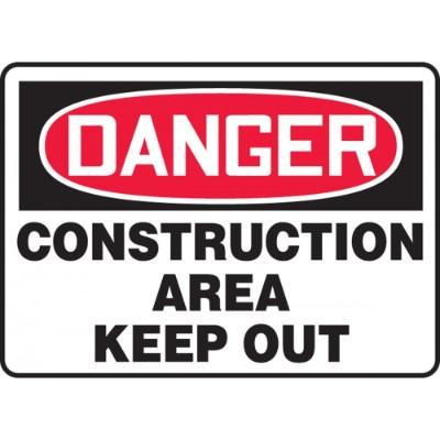 Danger - Construction Area, Keep Out OSHA Construction Sign