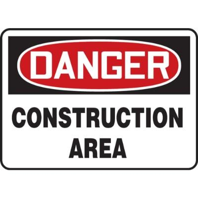 Danger - Construction Area OSHA Construction Sign