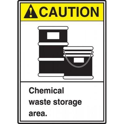 Caution - Chemical Waste Storage Sign ANSI HazMat Sign