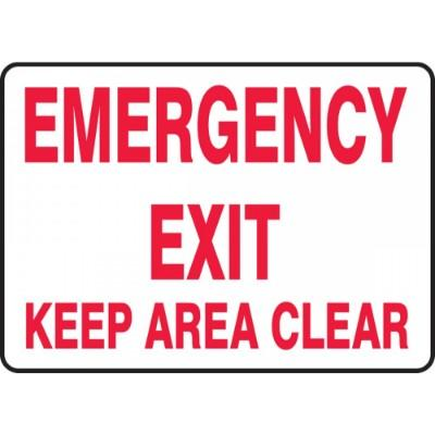 Emergency Exit - Keep Area Clear Emergency Sign