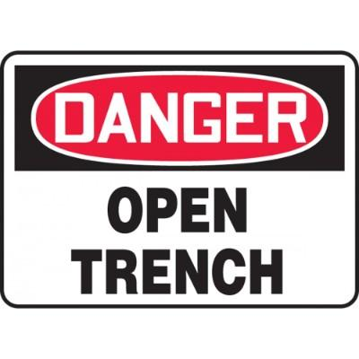 Danger - Open Trench OSHA Construction Sign