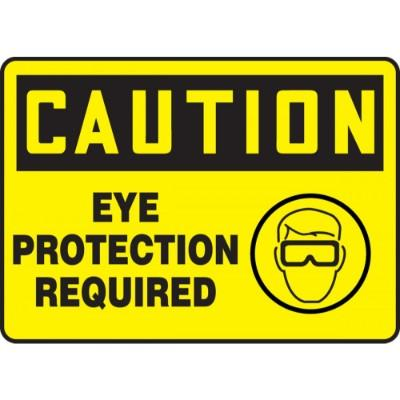 Caution - Eye Protection Required (Image) OSHA PPE Sign