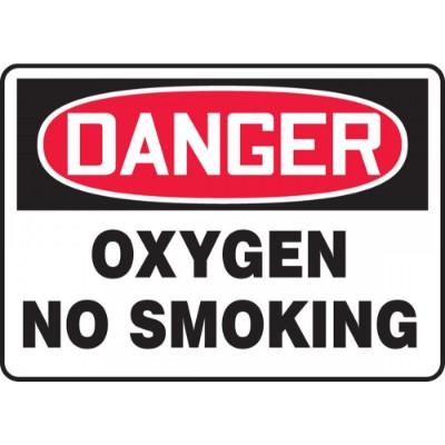 Danger - Oxygen, No Smoking OSHA HazMat Sign