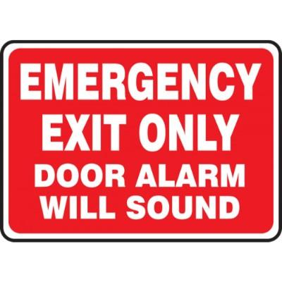 Emergency Exit Only - Door Alarm Will Sound Emergency Sign (Red Background)