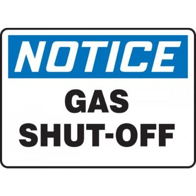 Notice - Gas Shut-Off OSHA Fire Safety Sign