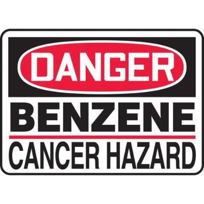 Danger - Benzene Cancer Hazard OSHA HazMat Sign