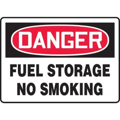 Danger - Fuel Storage, No Smoking OSHA HazMat Sign