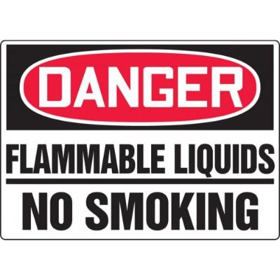 Danger - Flammable Liquids, No Smoking OSHA HazMat Sign