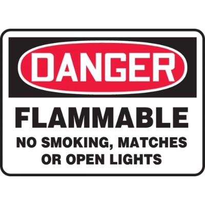 Danger - Flammable No Smoking, Matches OSHA HazMat Sign
