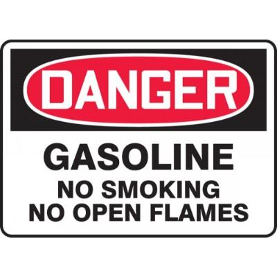 Danger - Gasoline, No Smoking or Open Flames OSHA HazMat Sign