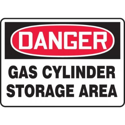 Danger - Gas Cylinder, Storage Area OSHA HazMat Sign