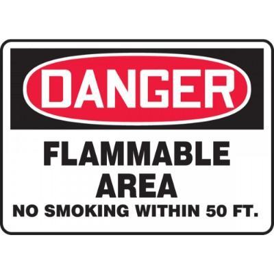 Danger - Flammable Area, No Smoking Within 50-Ft. OSHA HazMat Sign