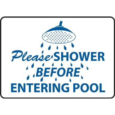 Please Shower Before Entering Pool - Hygiene Sign