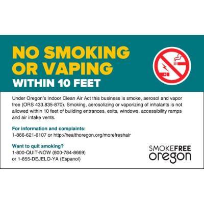 No Smoking or Vaping Within 10 Feet - Oregon Smoking Label