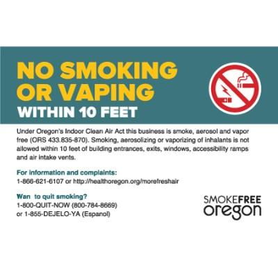 No Smoking or Vaping Within 10 Feet - Oregon Smoking Sign