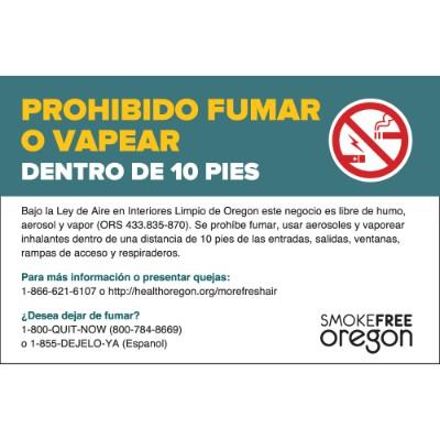 Prohibido Fumar o Vapear Dentro de 10 Pies - Oregon Smoking Label (Spanish)