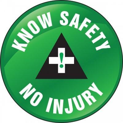 Know Safety No Injury Hard Hat Sticker