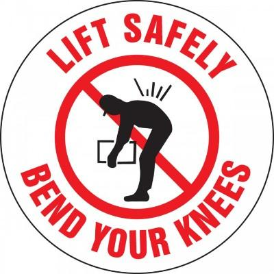 Lift Safely, Bend Your Knees Hard Hat Sticker