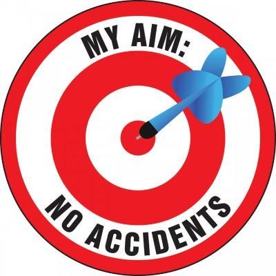 My Aim No Accidents Hard Hat Sticker