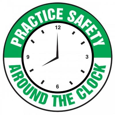 Practice Safety Around the Clock Hard Hat Sticker