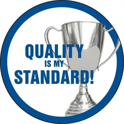Quality is My Standard Hard Hat Sticker