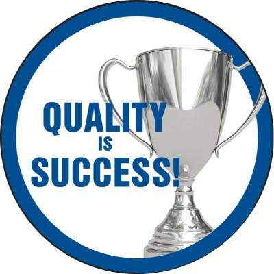 Quality is Success Hard Hat Sticker