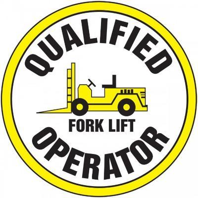 Qualified Forklift Operator Hard Hat Sticker