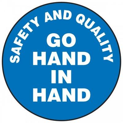 Safety and Quality Go Hand in Hand Hard Hat Sticker (Blue)