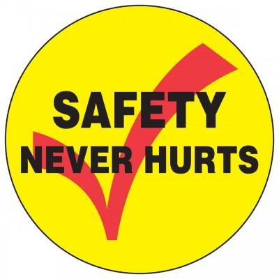 Safety Never Hurts Hard Hat Sticker