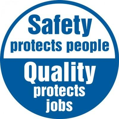 Safety Protects People, Quality Protects Jobs Hard Hat Sticker