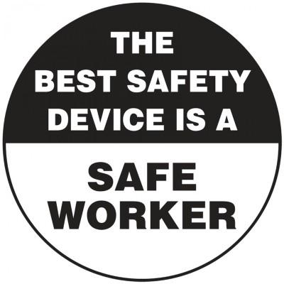 The Best Safety Device is a Safe Worker Hard Hat Sticker
