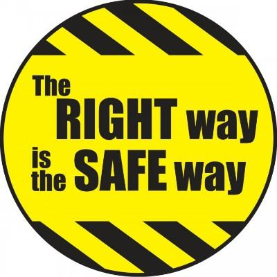 The Right Way is the Safe Way Hard Hat Sticker (Black/Yellow)