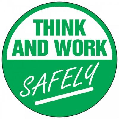 Think and Work Safely Hard Hat Sticker