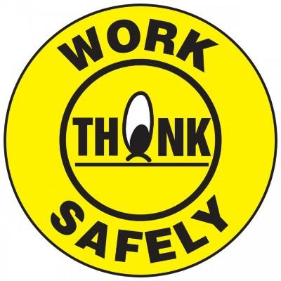 Work Safely, Think Hard Hat Sticker