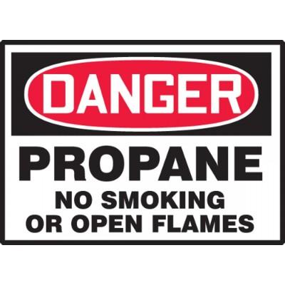 Danger - Propane No Smoking or Open Flames OSHA HazMat Label
