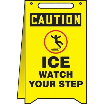 Caution - Ice Watch Your Step OSHA Folding Sign