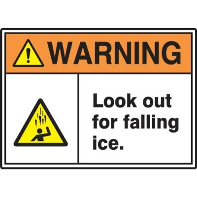 Warning - Look Out for Falling Ice ANSI Hazard Sign