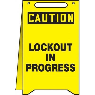 Caution - Lockout in Progress OSHA Folding Sign
